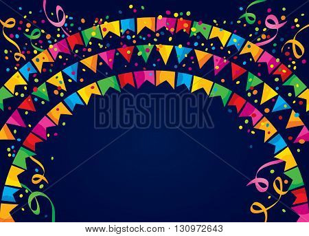 Dark background with many colorful flags and confetti on top