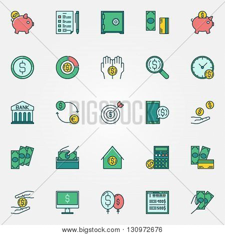 Flat finance icons - vector money saving and economy symbols. Colorful money savings signs