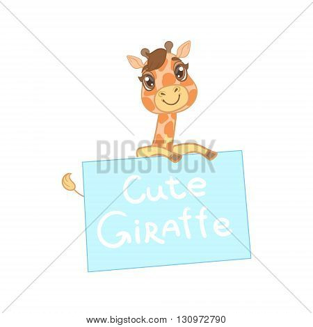 Giraffe Behind A Paper Banner Outlined Flat Vector Illustration In Cute Girly Cartoon Style Isolated On White Background
