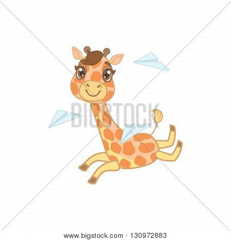 Giraffe Playing With Paper Planes Outlined Flat Vector Illustration In Cute Girly Cartoon Style Isolated On White Background