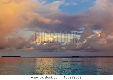 Landscape With A Tropical Beach In The Maldives