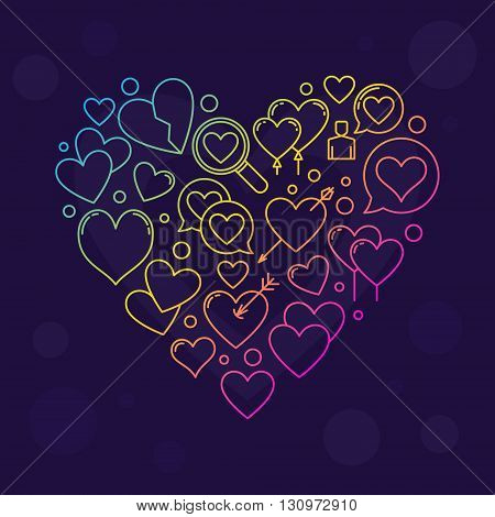 Heart shape sign - vector colorful love sign made with thin line hearts icons