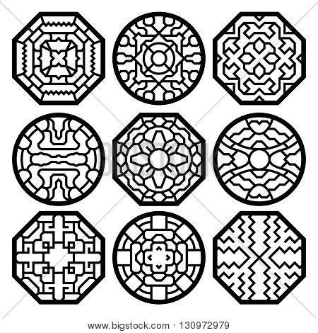 Chinese, korean traditional vector pattern. Chinese traditional pattern, korean pattern, oriental frame pattern element illustration