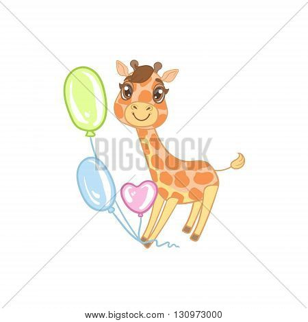 Giraffe With Balloons Outlined Flat Vector Illustration In Cute Girly Cartoon Style Isolated On White Background