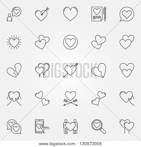 Hearts line icons set - vector collection of heart love signs or cute romantic logo elements
