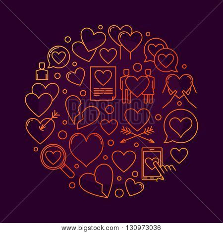 Love round symbol - vector illustration made of linear hearts. Love concept sign