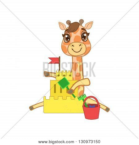 Giraffe Building A Sand Castle Outlined Flat Vector Illustration In Cute Girly Cartoon Style Isolated On White Background