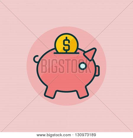 Piggy bank flat icon - vector colorful pig moneybox sign. Pig with coin symbol or logo element on pink background