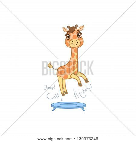 Giraffe Jumping On Trampoline Outlined Flat Vector Illustration In Cute Girly Cartoon Style Isolated On White Background