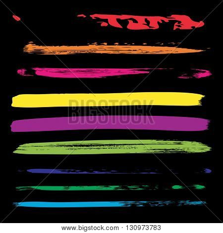 Large collection or set of artistic colorful paint hand made creative brush strokes isolated on black background