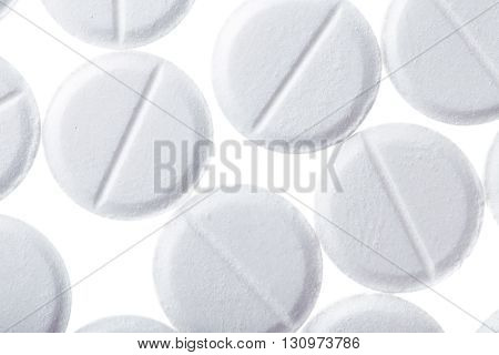 Tablets isolated on white background. Macro photo