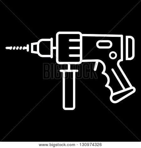 Electric hammer drill line art vector icon isolated on a black background. Perforator tool.