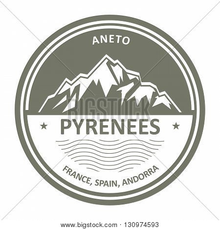 Pyrenees Mountains - Snowbound Aneto peak round stamp