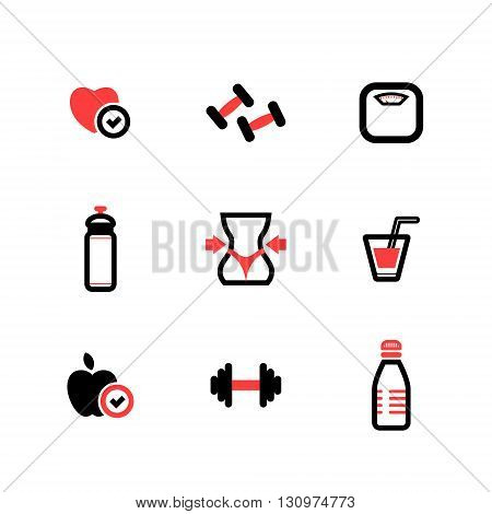 set of black and red vector flat fitness icons