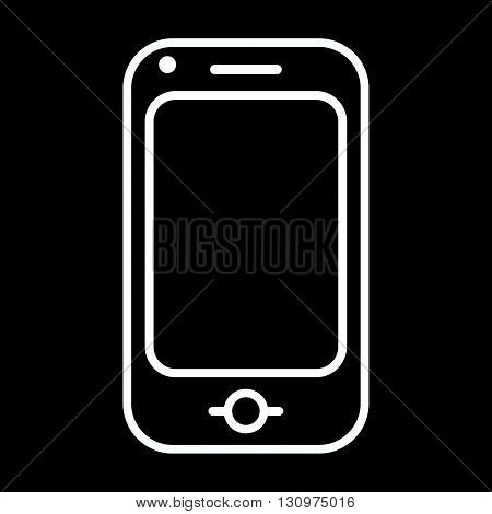 Modern mobile phone line art vector icon isolated on a black background.