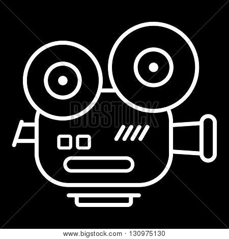 Movie camera vector icon isolated on a black background. Old style film camera.