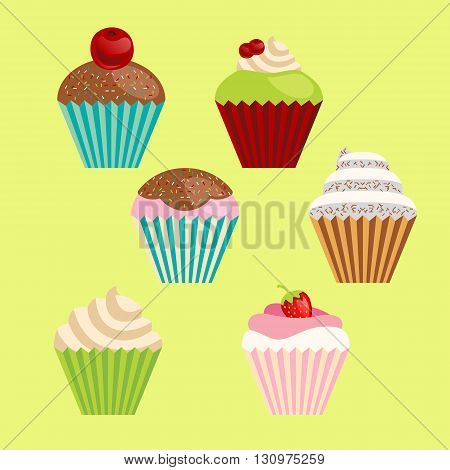 set of six vector cartoon-style cute muffins