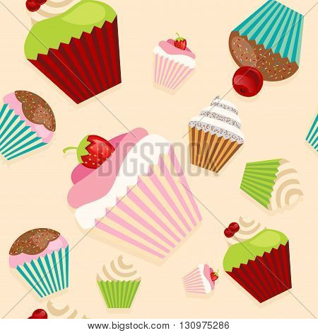 Cute seamless vector texture pattern with cupcakes