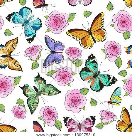 Seamless colorful vector pattern with butterflies and roses. Hand drawn vector illustration. Perfect for greetings invitations manufacture wrapping paper textile wedding and web design.
