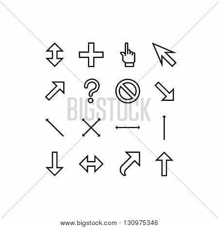 smooth vector cursors icons with outlines on white background