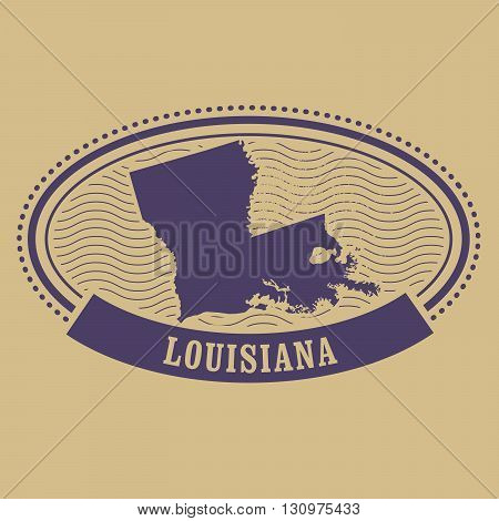 Louisiana map silhouette - vintage oval stamp