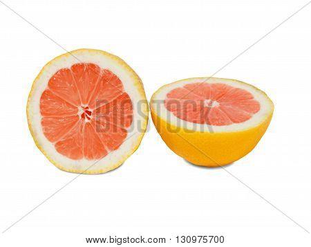 Halves of grapefruit isolated on white background