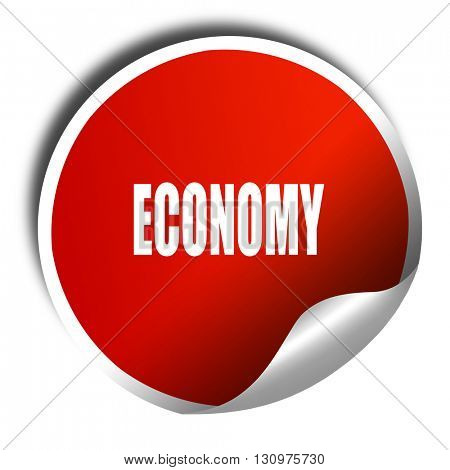 economy, 3D rendering, red sticker with white text
