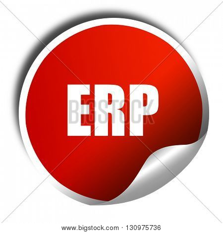 erp, 3D rendering, red sticker with white text