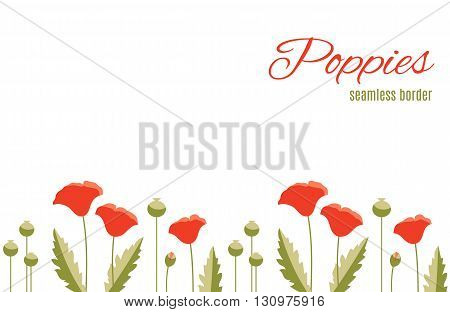 Repeatable summer flower border with red poppies and green leaves. Design of floral pattern for cards, invitations, websites and other projects.