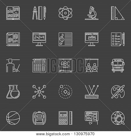 Education and science icons - vector collection of linear school education symbols or logo elements on dark background