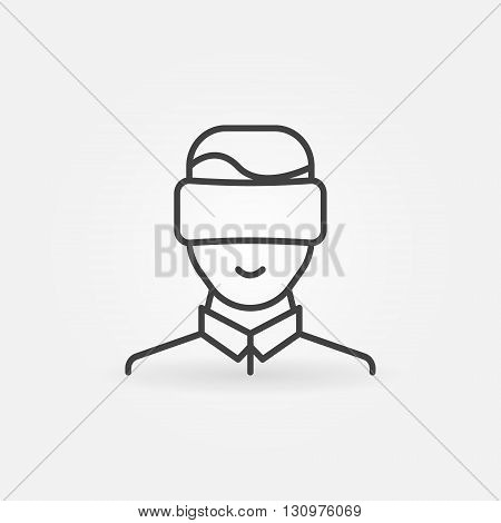 Man wearing VR glasses icon - vector virtual reality headset sign or pictogram