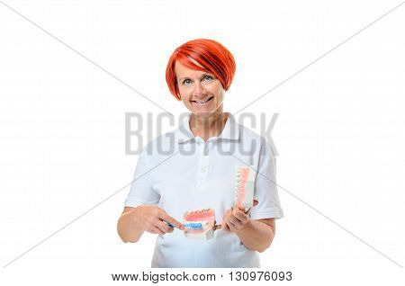 Woman Holding Toothbrush Over White Background