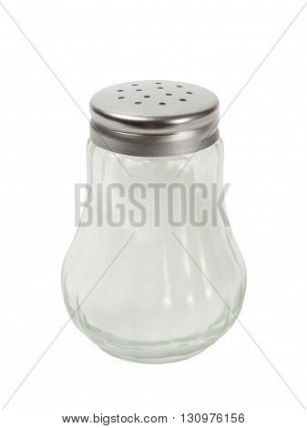 Salt shaker with salt inside  isolated on white background