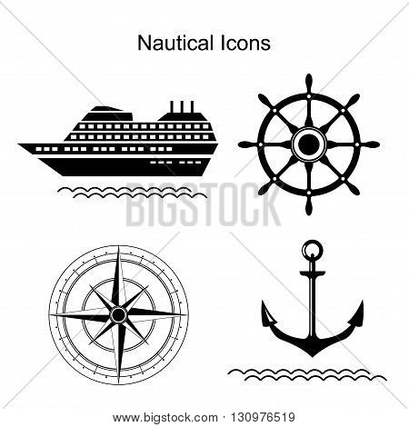 Nautical symbols. Ship, anchors and steering wheel, wind rose icons. Vector illustration