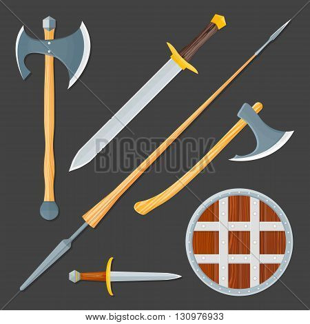 vector colorful wood textured flat design medieval various cold weapon collection shield dagger sword lance battle axes isolated illustration gray background