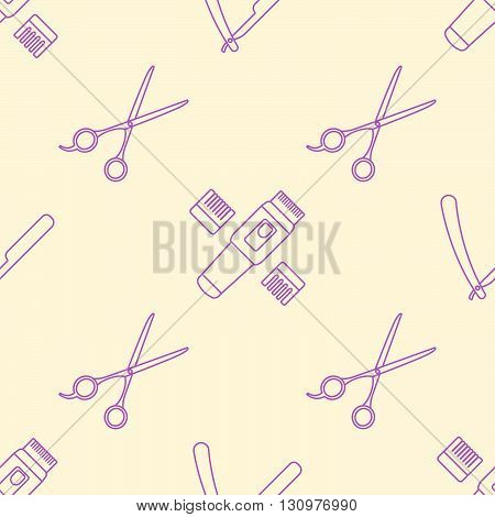 Deco Hairdresser Tools Seamless Pattern.