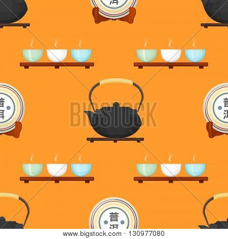Tea Puer Ceremony Seamless Pattern.
