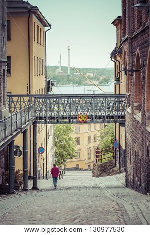 Narrow street in Gamla Stan Stockholm in Sweden