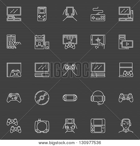 Video game line icons - vector collection of game console, joysticks, gadgets signs. Linear gaming pictograms on dark background