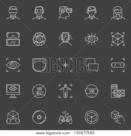 VR icons set - vector collection of linear virtual reality technology pictograms or logo elements