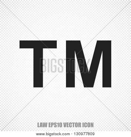 The universal vector icon on the law theme: Black Trademark. Modern flat design. For mobile and web design. EPS 10.