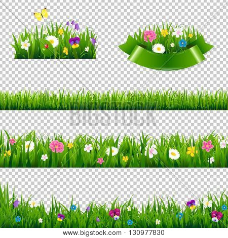 Flowers Borders Collection, Isolated on Transparent Background, With Gradient Mesh, Vector Illustration