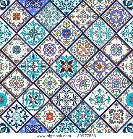 Vector seamless texture. Beautiful mega patchwork pattern for design and fashion with decorative elements. Set of Portuguese tiles Azulejo Talavera Moroccan ornaments