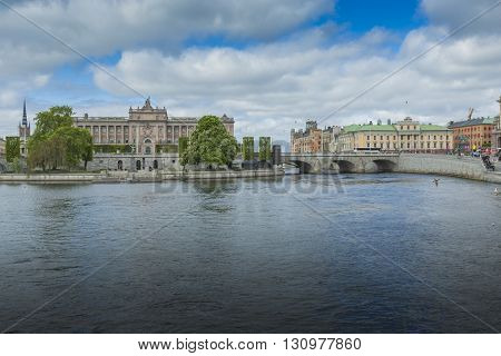 Stockholm, Sweden - May 21, 2016:riksdag Parliament Building And Norrbro Bridge In Stockholm, Sweden