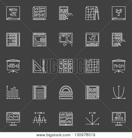 Mathematics line icons - vector collection of math education signs in thin line style on dark background