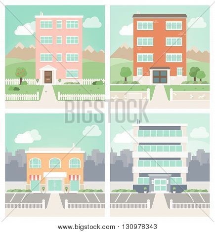Flat design set of residential, business and commercial buildings, landscape and city on background