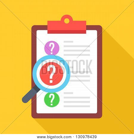 Clipboard with question marks and magnifying glass. Survey, quiz, investigation, customer support questions concepts. Flat design vector icon with long shadow isolated on yellow background