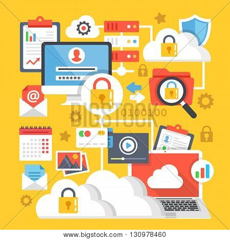Cloud computing, data storage, internet technology data encryption creative concepts and icons set. Modern flat design for web banners, web sites, printed materials, infographics. Vector illustration
