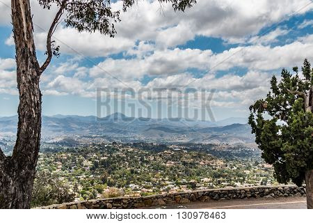 View of mountain range in San Diego, California as seen from Mt. Helix Park in La Mesa.