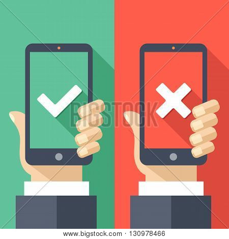 Hands holding smartphones with checkmarks set. White tick and cross check marks on green and red smartphones screens. Success and failure concept. Creative long shadow flat design. Vector illustration